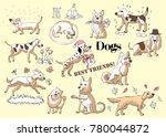 funny dogs sketches. hand... | Shutterstock .eps vector #780044872