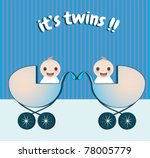 cute twin baby boys vector | Shutterstock .eps vector #78005779