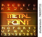 metal alphabet font. chrome... | Shutterstock .eps vector #780059722