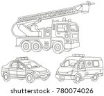 vector set of a fire truck  an... | Shutterstock .eps vector #780074026