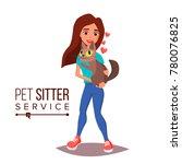 Stock vector cat pet sitter vector cat sitter walking pet taking a rest cartoon character illustration 780076825