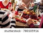 christmas new year dinner group ... | Shutterstock . vector #780105916