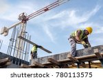 worker at the construction site ... | Shutterstock . vector #780113575