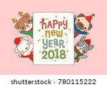 happy new year 2018 greeting... | Shutterstock .eps vector #780115222