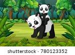 panda with baby panda in the... | Shutterstock .eps vector #780123352