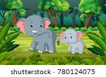 Stock vector elephant and baby elephant in the forest 780124075