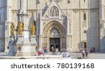 Entrance to Zagreb Cathedral timelapse and Monument called Maria