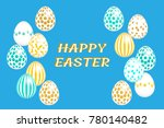 happy easter greeting card.... | Shutterstock .eps vector #780140482