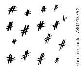 handwritten hashtag silhouette... | Shutterstock .eps vector #780148792