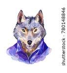 hipster illustration  wolf in...   Shutterstock . vector #780148846