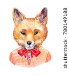 watercolor fox. hipster... | Shutterstock . vector #780149188