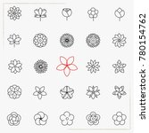 flower line icons set | Shutterstock .eps vector #780154762