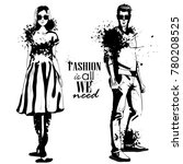 vector woman and man fashion | Shutterstock .eps vector #780208525