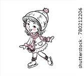 the girl skates. young girl... | Shutterstock . vector #780212206