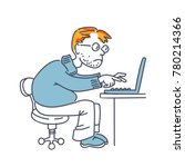man with a laptop at work | Shutterstock .eps vector #780214366