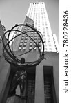 Small photo of NEW YORK, USA OCTOBER 25: The historic Atlas Statue in the Rockefeller Center stands for power in the Fifth Ave where is located the most expensive retail stores of New York city on october 25, 2013.