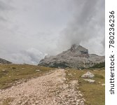 Small photo of Stage 2 of Alta Via 1 trek from Refugio Fanes begins gently & easy, crossing a high ground and wild rocky landscape with a final long uphill climb to Refugio Lagazuoi, Dolomites, South Tyrol, Italy