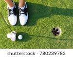 close up of putter hitting golf ... | Shutterstock . vector #780239782