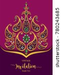 indian wedding invitation card... | Shutterstock .eps vector #780243685