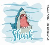 shark illustration in ocean   Shutterstock .eps vector #780249988