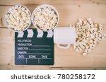 movie clapper board with coffee ... | Shutterstock . vector #780258172