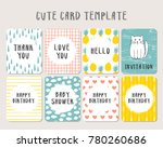 set of cute baby card template | Shutterstock .eps vector #780260686