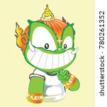 smiling and show 2 fingers... | Shutterstock .eps vector #780261352