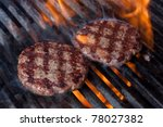 Hamburgers On Grill With...