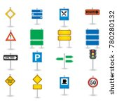 road sign icon set | Shutterstock .eps vector #780280132