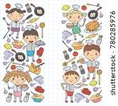 cute kids chef on white... | Shutterstock .eps vector #780285976