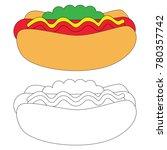 hotdog cartoon. outlined... | Shutterstock .eps vector #780357742