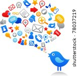 blue bird with social media... | Shutterstock .eps vector #78037219
