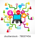 social network background with... | Shutterstock .eps vector #78037456