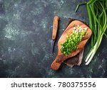 chopped green onions on... | Shutterstock . vector #780375556