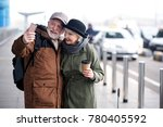 sweet moment. petite elderly... | Shutterstock . vector #780405592