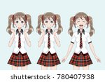 group of anime  manga  girls of ... | Shutterstock .eps vector #780407938