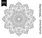 monochrome ethnic mandala... | Shutterstock . vector #780446986