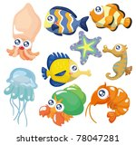 cartoon fish collection  icon... | Shutterstock .eps vector #78047281