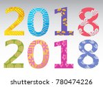 2018 new year's greetings card... | Shutterstock .eps vector #780474226