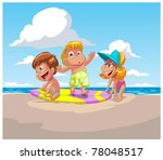 children on a beach | Shutterstock .eps vector #78048517