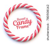 candy cane circle frame on... | Shutterstock .eps vector #780508162