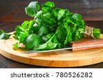 Bunch Of Fresh Cilantro On The...