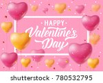 valentines day lettering with... | Shutterstock .eps vector #780532795