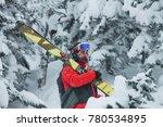portrait young man ski goggles... | Shutterstock . vector #780534895
