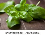 Fresh Basil On Dark Wooden...