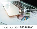 focus stethoscope doctor table... | Shutterstock . vector #780543466