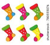 colorful socks for christmas  | Shutterstock . vector #780555076