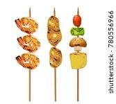 roast shrimp and chicken stick... | Shutterstock .eps vector #780556966