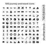 100 journey and travel solid... | Shutterstock .eps vector #780580045
