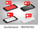 set of phone and push... | Shutterstock .eps vector #780590782